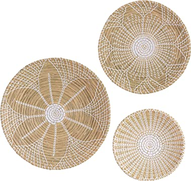 Artera Wicker Wall Basket Decor - Set of 3 Hanging Woven Seagrass Flat Baskets, Round Boho Wall Basket Decor for Living Room