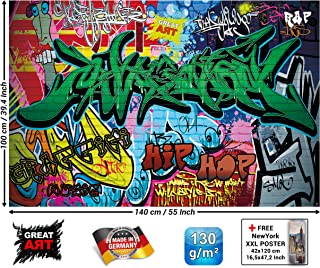 Children's Room Poster – Graffiti Wall Decoration – Colorful Signs Writing Pop Art Wall Street Style Writing Hip Hop Wallpaper Street Art Wall Wallposter (55 x 39.4 Inch/ 140 x 100cm)