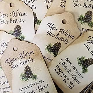 You Warm Our Hearts Pinecone firestarter sets of 25 Tags 1 1/8