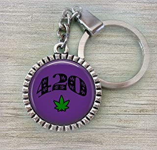 420 Keychain or Zipper Pull, Purple with Green Pot Leaf, Pakalolo, Marijuana, Pot Lovers * Hand-crafted with lOve!