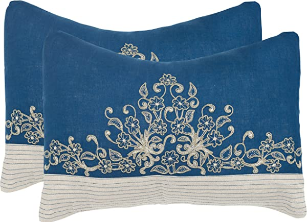 Safavieh Pillow Collection Throw Pillows 12 By 20 Inch Elena Royal Blue Set Of 2