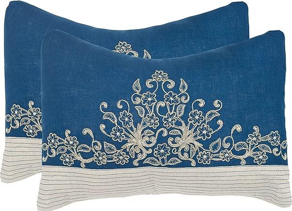 Safavieh 枕枕头月英寸 Elena 的皇家蓝组