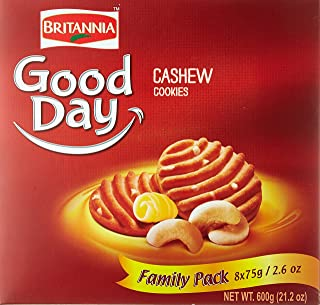 Britannia Good Day Cashew Cookies - Family Pack - 8 Packs of 75g.