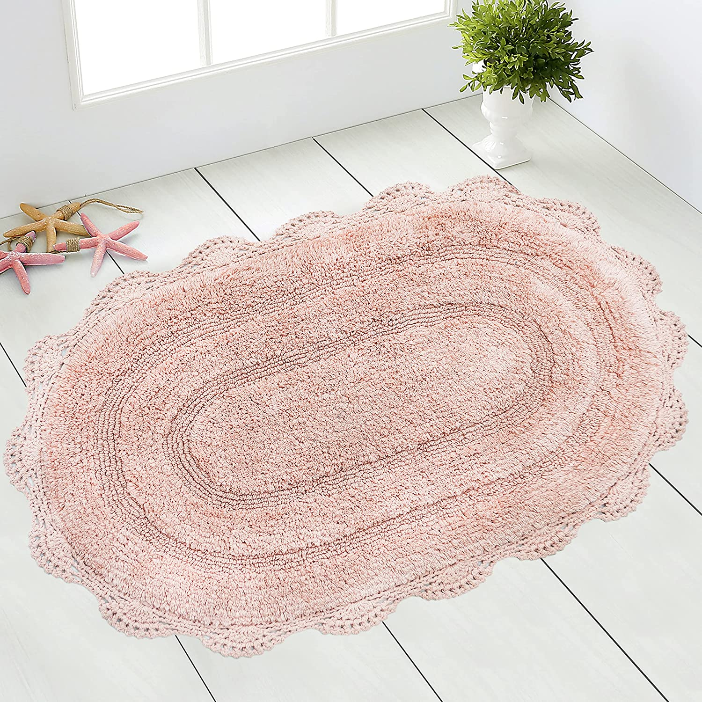 CHARDIN HOME   Crochet Bathroom Rug Blush   20x20 Inches Oval Boho Bath Mat    Non Slip Latex Back, Machine Washable Rug
