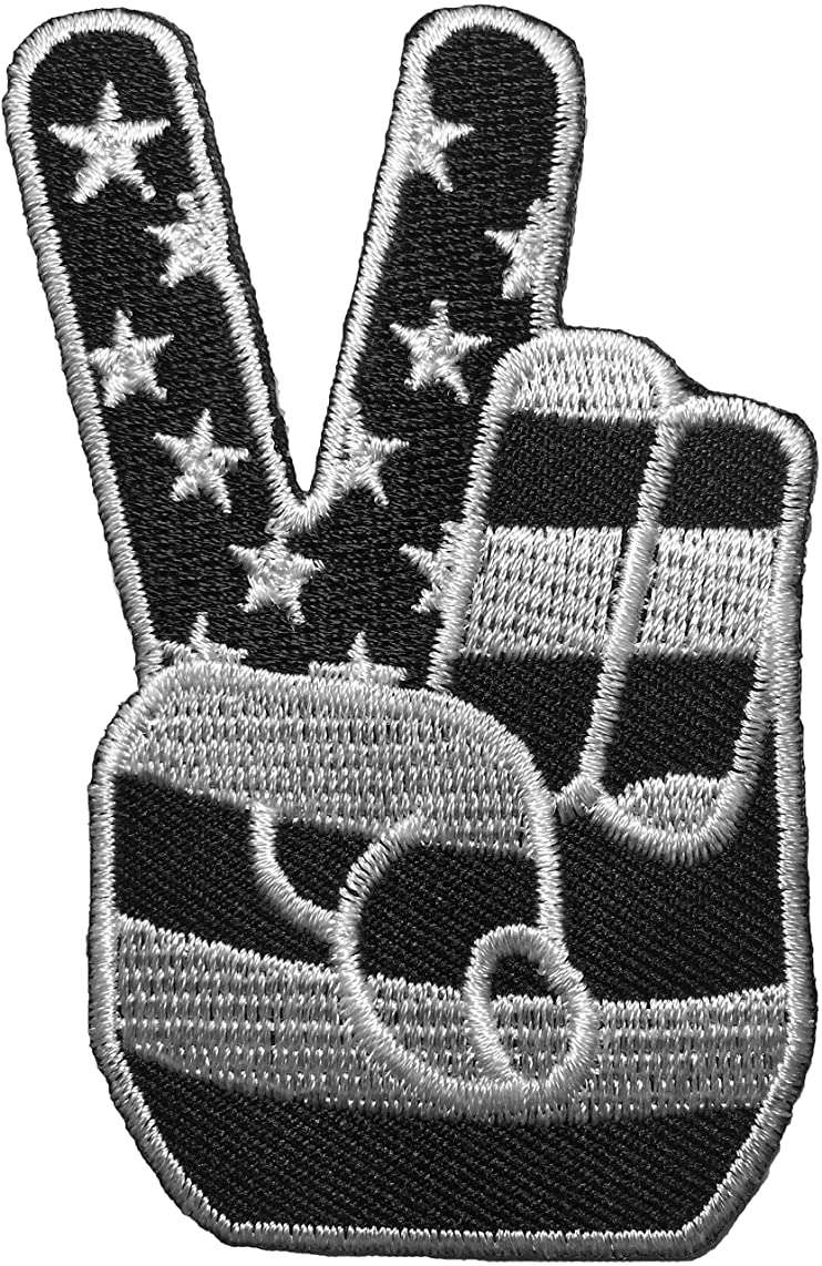 Papapatch USA American Flag Two Fingers Peace Victory Sign Embroidered Sewing Iron on Patch (2FINGER-PEACE-B/W)
