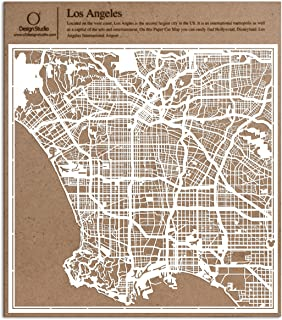 Los Angeles Paper Cut Map by O3 Design Studio White 12x12 inches Paper Art