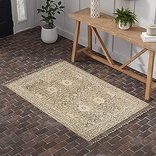 Stone & Beam Kelsea Vintage-Inspired, Tassled Wool Area Rug, 4 x 6 Foot, Beige and Grey