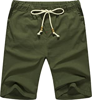 ZYFMAILY Men's Linen Casual Classic Fit Drawstring Summer Beach Shorts
