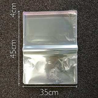 100 pcs Bolsas de Celofán Transparente Plastico Pequeñas OPP con Cierre Autocierre Banda Autodhesiva, bolsas de embalaje 35CM X 45CM + 4CM