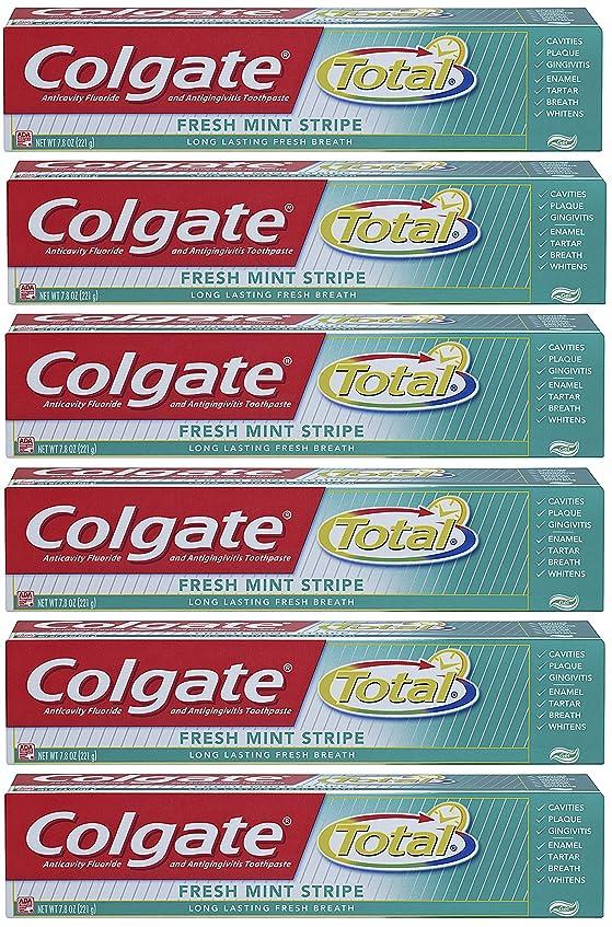 負広い枯渇Colgate 総フレッシュミントストライプジェルハミガキ - 7.8オンス(6パック) 6オンス(6パック) フレッシュミント