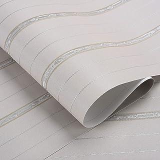 厚手 壁紙 Harmn home 壁紙シール 白 無地 リメイクシート 剥がせる かッティング シート幅53cmX5m 厚さ0.32mm ストライプ グレー……