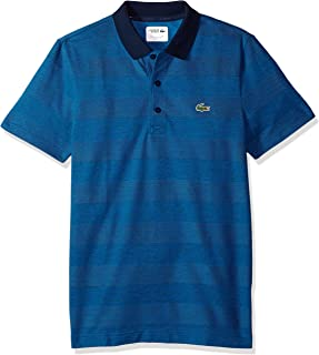 3fe90f9029c Lacoste Men s Short Sleeve Jersey Caviar Textured Print with Jacquard  Collar Polo
