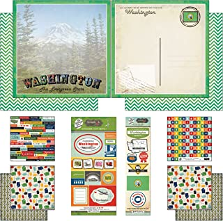 Scrapbook Customs Themed Paper and Stickers Scrapbook Kit, Washington Vintage