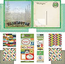 Scrapbook Customs Themed Paper and Stickers Scrapbook Kit, Washington Vintage