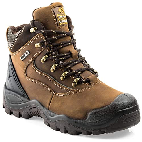 53c05c82c61d2 Buckler BSH002BR Waterproof Anti-Scuff Safety Work Boots Brown (Sizes 6-13)