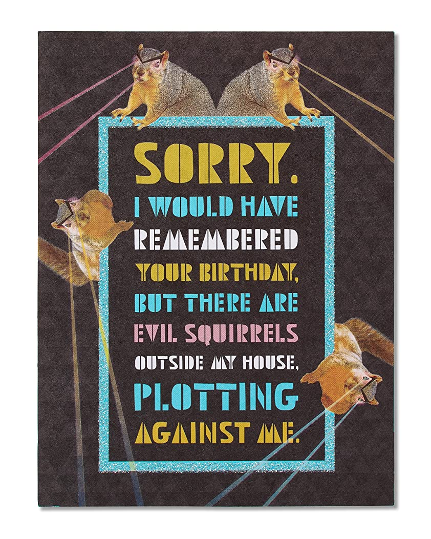 American Greetings Funny Squirrels Belated Birthday Card with Glitter - 5856739