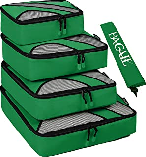 4 Set Packing Cubes,Travel Luggage Packing Organizers with Laundry Bag Green