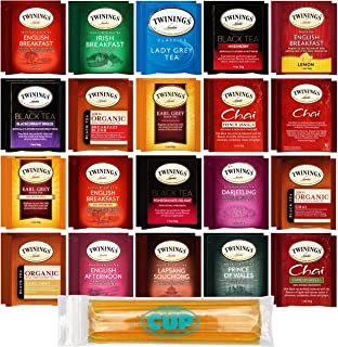 Twinings Tea Bags & By The Cup Honey Sticks Variety 40 Ct including English Breakfast, Earl Grey, & More