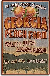 Lantern Press Georgia - Peach Farm Vintage Sign (10x15 Wood Wall Sign, Wall Decor