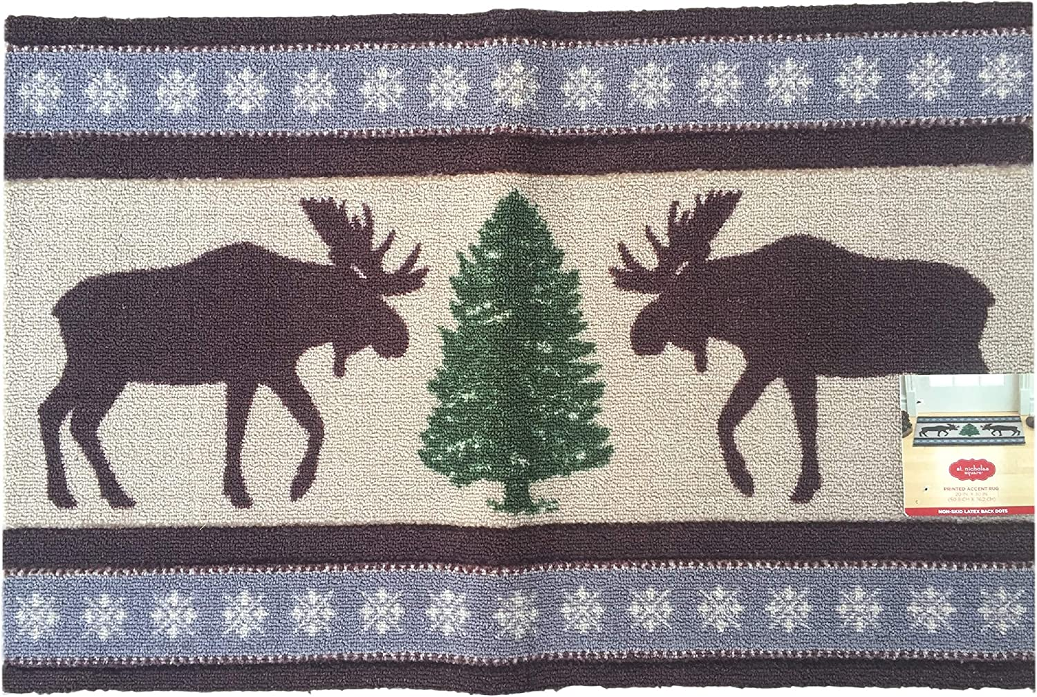 St. Nicholas Square Moose Pine Tree Snowflake Lodge Christmas Holiday Non-Skid Accent Rug - 20 x 30 Inches