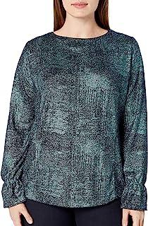 Women's Plus Size Jewel Neck Metallic Knit with Sleeve Detail