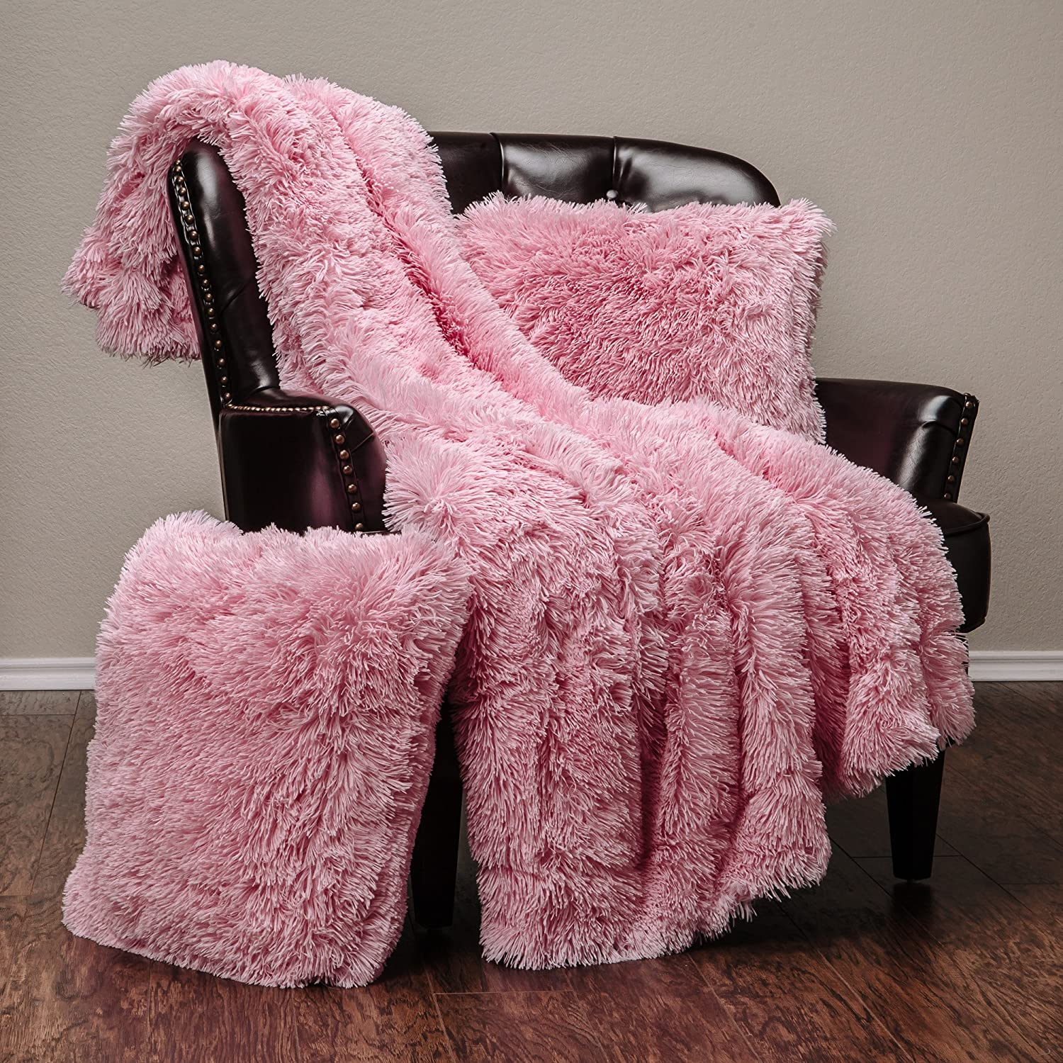 Chanasya Fuzzy Shaggy Max 73% OFF Faux Max 85% OFF Fur Throw Blanket Cover Pillow 3- and
