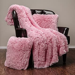 Chanasya 3-Piece Super Soft Shaggy Throw Blanket Pillow Cover Set - Chic Fuzzy Faux Fur Elegant Cozy Fleece Sherpa Throw (50x65) and Two Throw Pillow Covers (18x 18)- for Bed Couch Chair Sofa - Pink