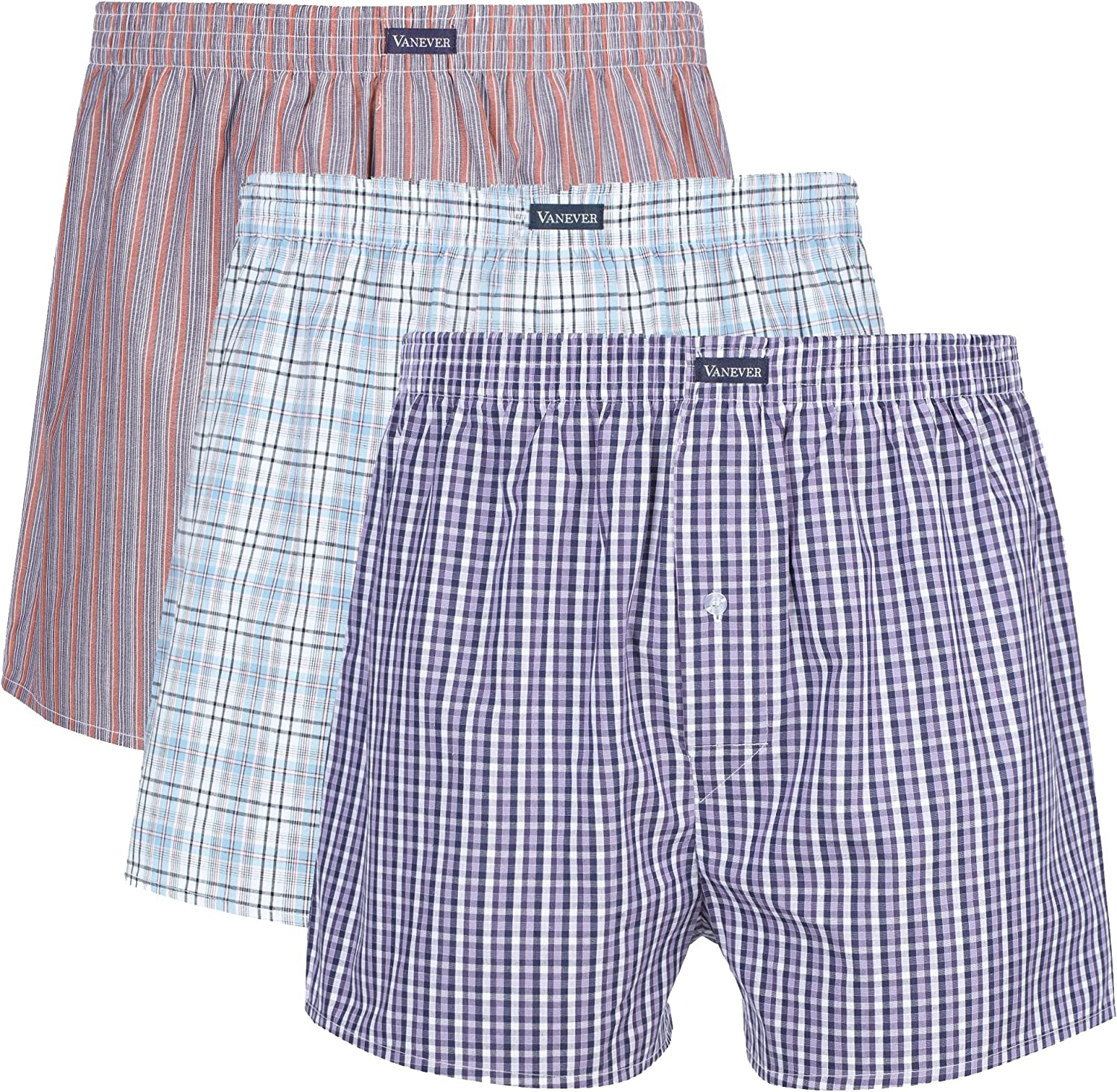 Vanever 3PK Limited price Men's Woven Boxers 100% Shorts Boxer Cotton Super popular specialty store Men for