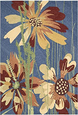 Rug Squared Melbourne Indoor/Outdoor Area Rug , 5-Feet by 7-Feet 6-Inches, Denim