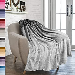 PAVILIA Flannel Fleece Ombre Throw Blanket for Couch | Super Soft Cozy Microfiber Couch Blanket | Gradient Decorative Accent Throw | All Season, 50x60 Inches Charcoal Grey