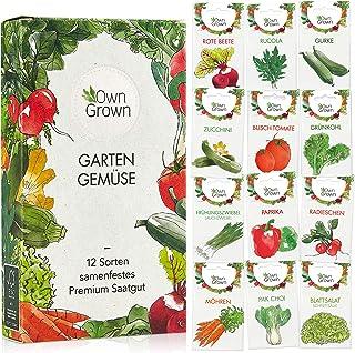 OwnGrown Gemüse Samen Set, 12 Sorten Premium Gemüse Saatgut, Gemüse anbauen im Garten oder Hochbeet, Gemüsesamen Sortiment im praktischen 12er Gemüseset