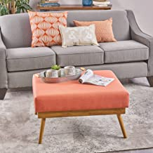 Christopher Knight Home Aria Mid Century Fabric Ottoman, Coral/Natural