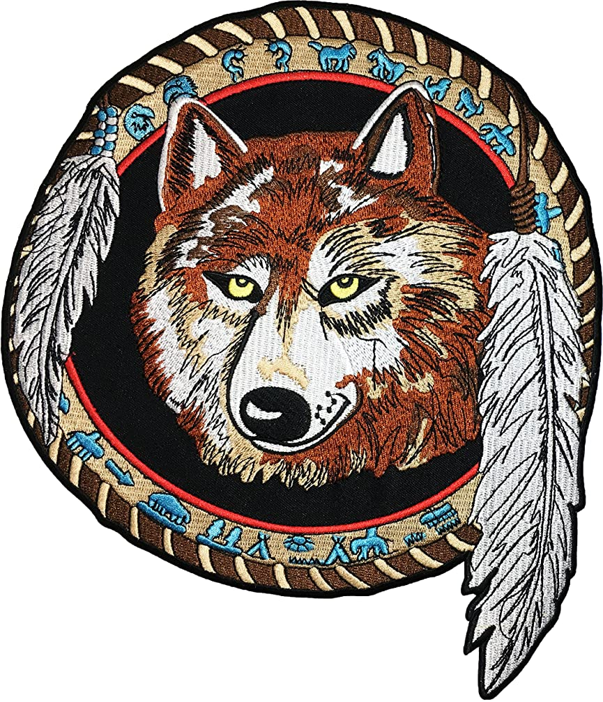 [Large Size] Papapatch Lone Wolf Dream Catcher Indian Feather Fox Biker Rider Motorcycle Chopper Jacket Vest Costume Sew on Iron on Embroidered Applique Patch (IRON-WOLF-FEATHER-LARGE)