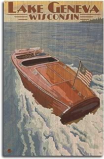 Lantern Press Lake Geneva, Wisconsin - Chris Craft Wooden Boat (10x15 Wood Wall Sign, Wall Decor Ready to Hang)