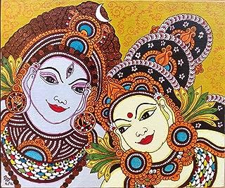 Kerala Mural Parvati Shiva Painting Handmade South Indian Hindu Ethnic Decor Art