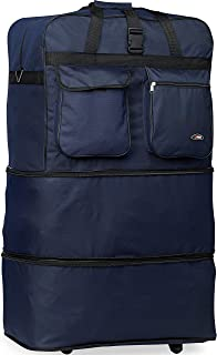 Rolling Wheeled Duffle/duffel Bag/spinner Suitcase Luggage Expandable (40 inch, Navy)
