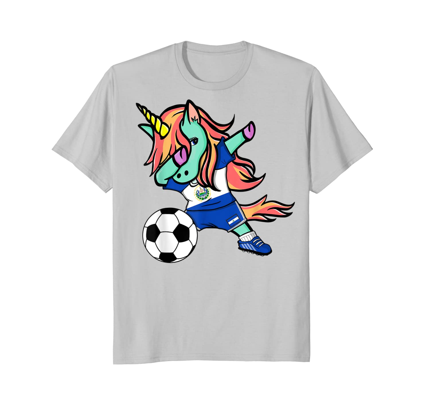 detailed pictures 0077c b5733 Cool Design Unicorn Dabbing El Salvador Soccer Jersey Football Fan Need  Funny Tee shirt