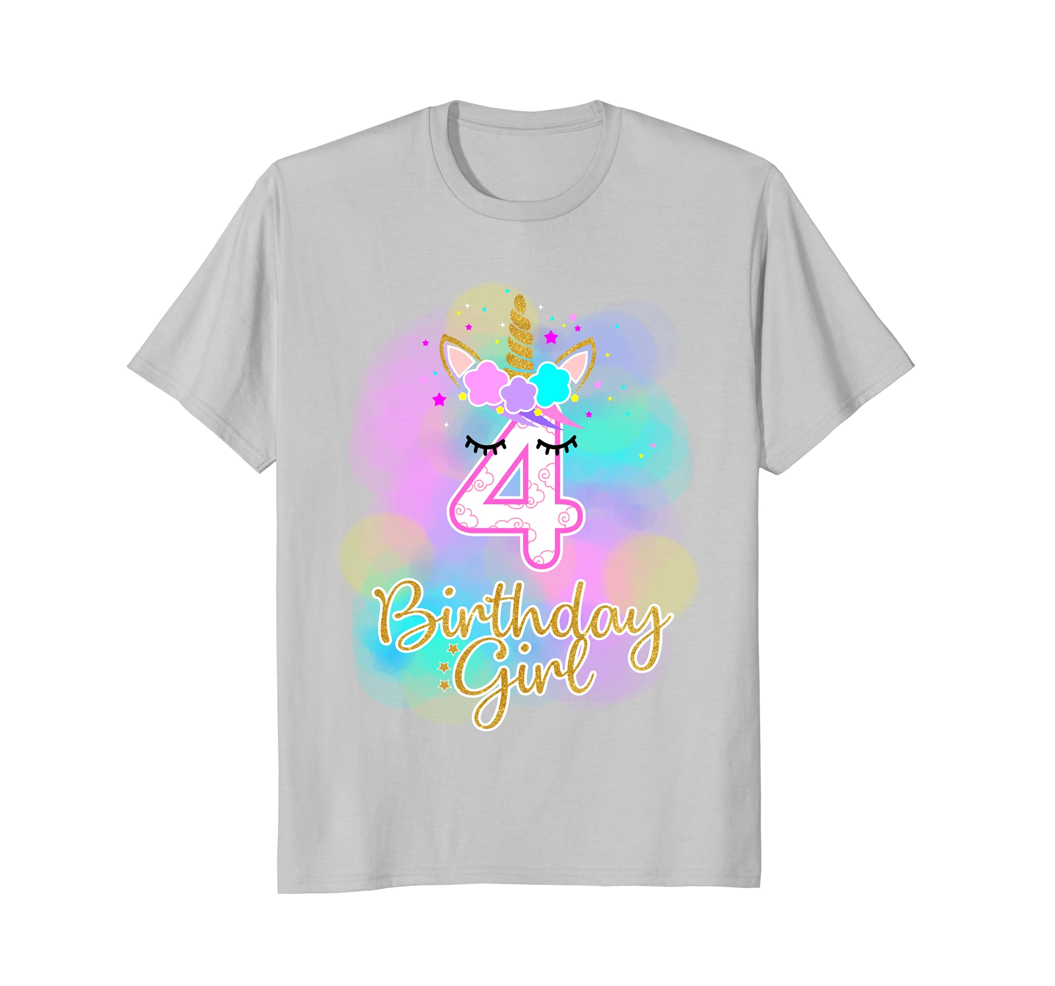 4th Unicorn Birthday Girl T Shirt Four Years Old Party Gift Teechatpro