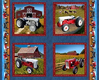 Ford Tractor Panel Fabric, Features 8N, 9N, Jubilee and 641 tractors, denim color