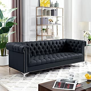 Oxford Black Leather Chesterfield Sofa - Silver Metal Legs   Button Tufted   Nailhead Trim   Modern   Livingroom   Inspired Home