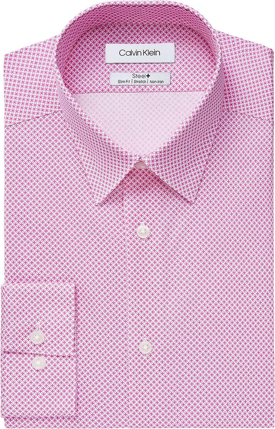 Calvin Klein Men's Dress Shirt Slim Stretch Print Fit Iron Challenge the lowest price Direct sale of manufacturer of Japan Non
