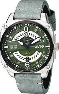 Men's Hawker Hunter Stainless Steel Japanese-Quartz Aviator Watch with Leather Strap, Green, 21.5 (Model: AV-4057-03)