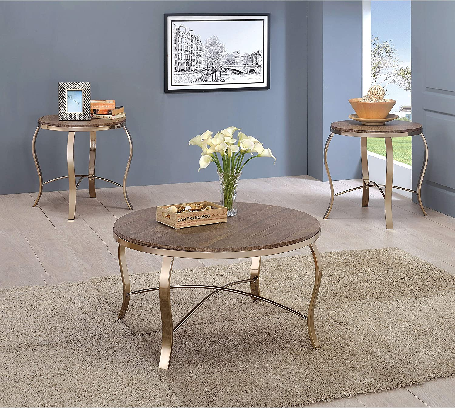 Glam Gold 3-Piece Round Accent gift Limited time sale Meta Brown Transitional Table Set