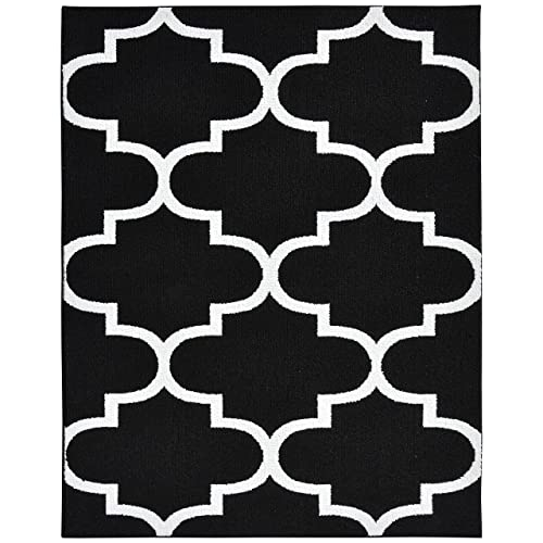 Garland Rug Large Quatrefoil Area Rug, 8 X 10, Black/White