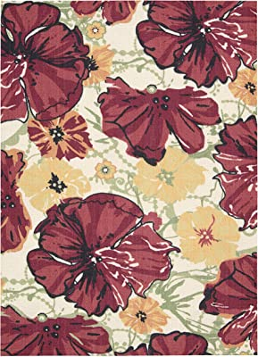 Rug Squared Sea Breeze Floral Area Rug , 2-Feet 6-Inches by 4-Feet, Ivory Red