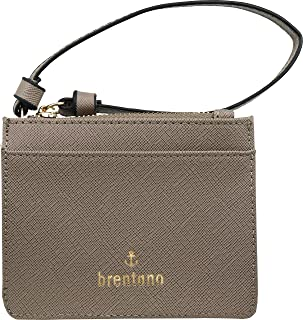 B BRENTANO Vegan Saffiano Leather Slim ID Credit Card Case with Wristlet Strap (Stone)