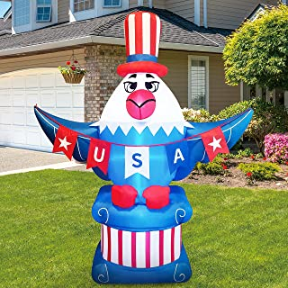 Joiedomi 6ft Patriotic Inflatable American Eagle Flag with LED Lights for 4th of July, Independence Day, Memorial Day, Blo...