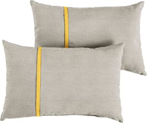 Mozaic AMPS113649 Indoor Outdoor Sunbrella Lumbar Pillows, Set of 2, 12 x 18, Silver Grey & Sunflower Yellow