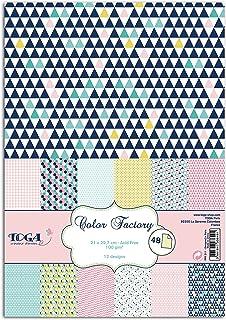 Draeger by Toga - 48 Feuilles A4 Imprimées Géométrique Pastel - Papier Multicolore, Idéal pour Décoration Bullet Journal, ...