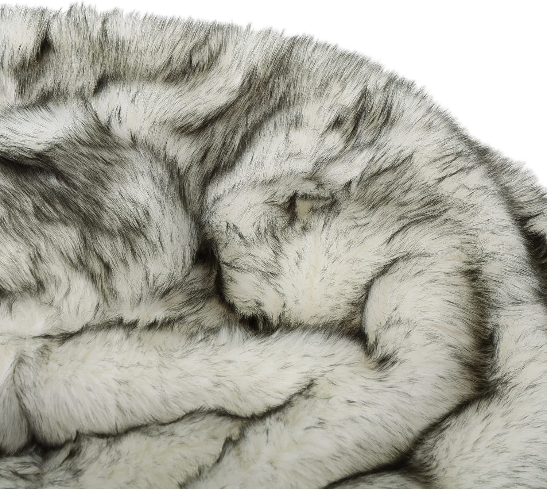 Christopher Knight Home Glendon Modern 3 Foot Faux Fur Bean Bag Dark Gray and Light Gray